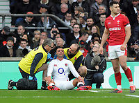 Rugby Union - 2020 Guinness Six Nations Championship - England vs. Wales<br /> <br /> Jonny May of England receives attention for a head injury which resulted with him leaving the field, at Twickenham.<br /> <br /> COLORSPORT/ANDREW COWIE
