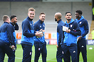 Ipswich players pre-match during the EFL Sky Bet Championship match between Burton Albion and Ipswich Town at the Pirelli Stadium, Burton upon Trent, England on 28 October 2017. Photo by John Potts.