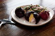 10 JAN. 2018 -- ST. LOUIS -- The Beet Salad, comprised of Yoder beets filled with lemon curd and goat cheese and served with granola, pickled shallots and fennel, is a lunchtime favorite at the Squatter's Cafe in the KDHX Larry J. Weir Center for Independent Media in the Grand Center neighborhood of St. Louis. Photographed Wednesday, Jan. 10, 2018. Photo © copyright 2018 Sid Hastings.