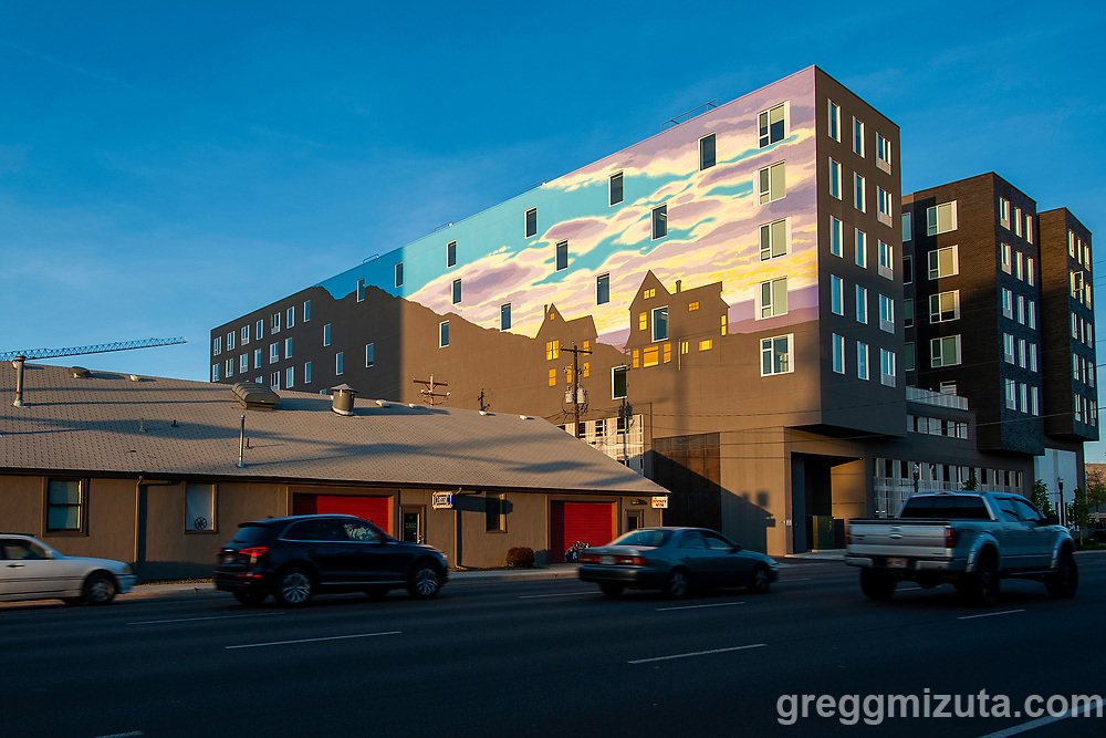 Portland, Oregon-based artist David Carmack Lewis  mural on west side of The Fowler in Boise, Idaho on May 4, 2019.<br /> <br /> Lewis started the mural on July 21, 2018 and finished it on August 15, 2018. The mural covers approximately 40 percent of the building closest to Myrtle Street, and works its exterior features like windows into a stylized depiction of the Boise Foothills against a partly cloudy sky.