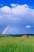 Hay and rainbow near Avon, Montana.