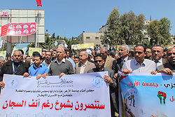 April 25, 2017 - Gaza, Palestine - Palestinians continue to support of  prisoners, who are on hunger strike in Israeli jails, In the permanent tent in Saraya Square in the center of Gaza City  (Credit Image: © Ramez Habboub/Pacific Press via ZUMA Wire)