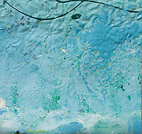 rough texture enamel art: blue color with lines and shades