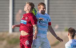 Andre Bjerregaard (Skive IK) og Jonas Henriksen (FC Helsingør) under kampen i 1. Division mellem FC Helsingør og Skive IK den 18. oktober 2020 på Helsingør Stadion (Foto: Claus Birch).
