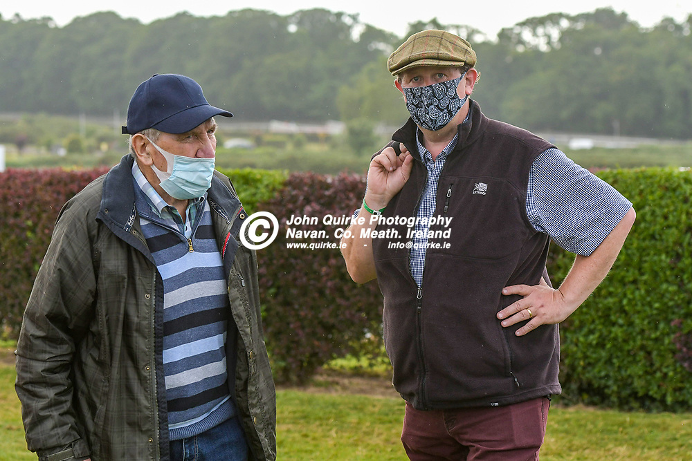 Trainer Eamonn Delany and his son Alan,  at Bellewstown Races.<br /> <br /> Photo: GERRY SHANAHAN-WWW.QUIRKE.IE<br /> <br /> 03-07-2021