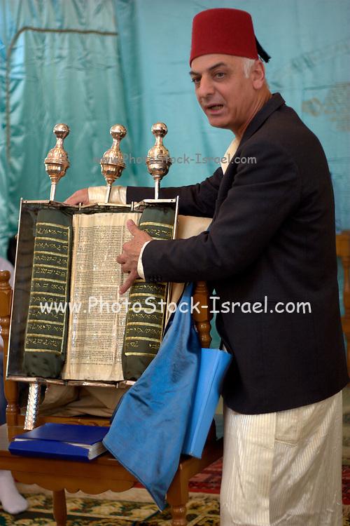 Israel, West Bank, Mount Gerizim, Samaritan Passover Sacrifice ceremony The Torah Scrolls