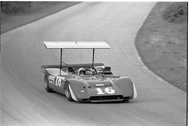 Chris Amon in Ferrari 612P at 1969 Road America (Elkhart Lake) Can-Am. Note addition at this race of new suspension-mounted rear wing by former Chaparral aerodynamicist Paul Lamar.