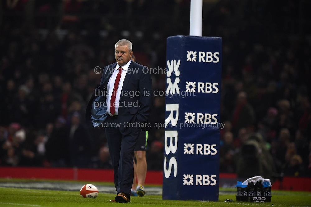 Warren Gatland, the Wales head coach looks on ahead of the match. RBS Six nations championship 2015, Wales v England at the Millennium Stadium in Cardiff, South Wales on Friday 6th  Feb 2015. pic by Andrew Orchard, Andrew Orchard sports photography.