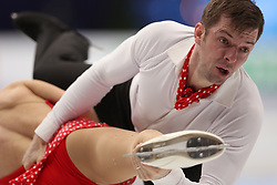 January 17, 2018 - Moscow, Russia - Valentina Marchei and Ondrej Hotarek of Italy perform their short program in the pair competition at the 2018 ISU European Figure Skating Championships, at Megasport Arena in Moscow. (Credit Image: © Igor Russak/NurPhoto via ZUMA Press)