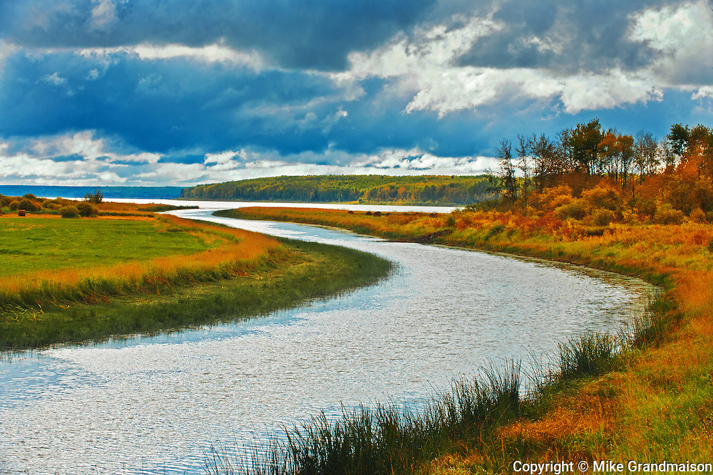 River and storm clouds<br /> Green Lake<br /> Saskatchewan<br /> Canada