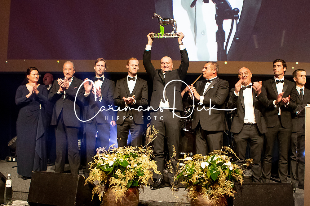 Award winners of the Year<br /> Bernard Fonck, Equistar of the Year,<br /> Simon Morsinkhof, Roockie of the Year,<br /> Jumpingg team Nations Cup Final Barcelona, Team of the Year, Peter Weinberg, Pieter Devos, Wil Vermeir, Nicola Philippaerts, Jos Verlooy, Niels Bruynseels, <br /> Edouard Simonet, Equille Trophée,<br /> Niels Bruynseels, Athlete of the Year,<br /> H&M Harley vd Bisschop, Horse of the Year, De Creane Tom, Ben Bevers<br /> François Mathy, Ophélie Fontana, Stefaan Lammens,<br /> Ludo Philippaerts, Wim Maenhout, Stephan Detry<br /> Equi Gala - Brussel 2019<br /> © Dirk Caremans<br /> 23/01/2019