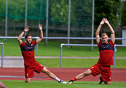 ROTTACH-EGERN, GERMANY - Friday, July 28, 2017: Liverpool's Adam Lallana and Ragnar Klavan during a training session at FC Rottach-Egern on day three of the preseason training camp in Germany. (Pic by David Rawcliffe/Propaganda)