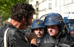 May 5, 2018 - Paris, France - Thousands of people demonstrated in central Paris on Saturday amid a heavy police presence to protest against President Emmanuel Macron's sweeping reforms, a year after he came to office. (Credit Image: © Panoramic via ZUMA Press)