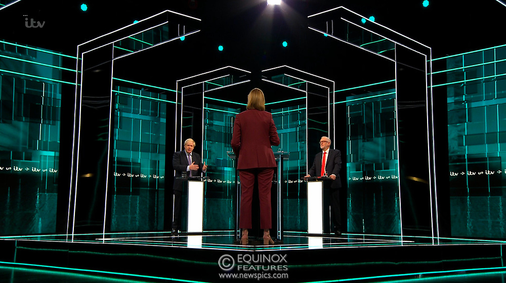 Broadcast TV, United Kingdom - 19 November 2019<br /> Labour leader Jeremy Corbyn and Prime Minister Boris Johnson debate live on ITV tonight as part of the 2019 general election campaign.<br /> (supplied by: Supplied by: EQUINOXFEATURES.COM)<br /> Picture Data:<br /> Contact: Equinox Features<br /> Date Taken: 20191119<br /> Time Taken: 201705<br /> www.newspics.com