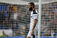Joe Ledley of Derby county looks on.EFL Skybet championship match, Cardiff city v Derby County at the Cardiff city stadium in Cardiff, South Wales on Saturday 30th September 2017.<br /> pic by Andrew Orchard, Andrew Orchard sports photography.