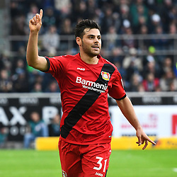 MOENCHENGLADBACH, Oct. 22, 2017  Kevin Volland of Leverkusen celebrates after scoring during the Bundesliga match between Borussia Moenchengladbach and Bayer 04 Leverkusen in Moenchengladbach, Germany, on October 21, 2017. Borussia Moenchengladbach lost 1-5. (Credit Image: © Ulrich Hufnagel/Xinhua via ZUMA Wire)
