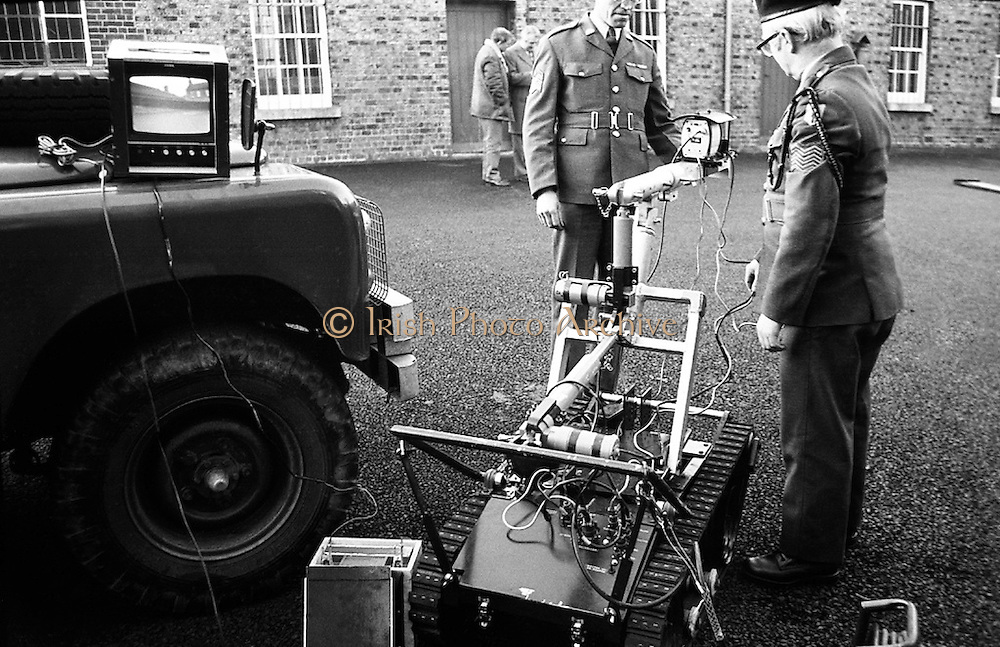 At Clancy Barracks, Dublin, the Irish Army  displays its newly acquired Remote Control Vehicle to be used for bomb disposal.<br /> 29/12/1975