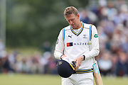 Steven Patterson of Yorkshire leaves the pitch after being dismissed during the Specsavers County Champ Div 1 match between Yorkshire County Cricket Club and Warwickshire County Cricket Club at York Cricket Club, York, United Kingdom on 18 June 2019.