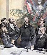 Ernest Constans (1833-1913) French politician, colonial administrator and diplomat, addressing  members of the Republican party at Toulouse.  From 'Le Petit Journal', Paris, 24 June 1893.  France, Politics, Power