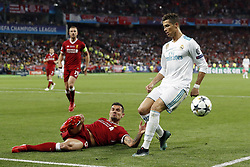(L-R) Dejan Lovren of Liverpool FC, Cristiano Ronaldo of Real Madrid during the UEFA Champions League final between Real Madrid and Liverpool on May 26, 2018 at NSC Olimpiyskiy Stadium in Kyiv, Ukraine