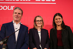 © Licensed to London News Pictures. 16/02/2020. London, UK. Labour leadership candidates KEIR STARMER MP for Holborn and St Pancras and Shadow Secretary of State for Exiting the European Union, REBECCA LONG-BAILEY MP for Salford and Eccles and Shadow Secretary of State for Business, Energy and Industrial Strategy and LISA NANDY MP for Wigan (L to R) at a hustings event hosted by the Co-operative Party held at Business Design Centre, north London. Photo credit: Dinendra Haria/LNP