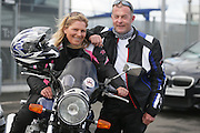 NO FEE PICTURES.5/5/13 On Saturday May 4th, the 8th Annual Rev-up4DSI motorcycle challenge in aid of Down Syndrome Ireland departed Joe Duffy BMW in Dublin, bound for Donegal. Pictured are Richie and Breda Dunne, Waterford. Picture:Arthur Carron Photography
