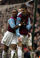 Picture: Henry Browne<br />Date: 01/03/2003<br />West Ham United v Tottenham Hotspur FA Barclaycard Premiership<br />Michael Carrick celebrates with Jermain Defoe and Lee Bowyer after scoring West Ham's second goal