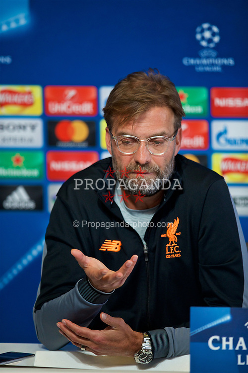 MANCHESTER, ENGLAND - Monday, April 9, 2018: Liverpool's manager Jürgen Klopp during a press conference at the City Football Academy ahead of the UEFA Champions League Quarter-Final 2nd Leg match between Manchester City FC and Liverpool FC. (Pic by David Rawcliffe/Propaganda)