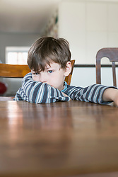 Portrait of boy leaning on wooden table