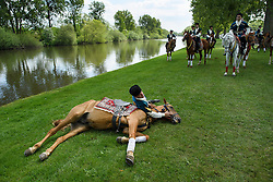 © London News Pictures. 15/05/2016. Windsor, UK. A rider from the Azerbaijan Dancers and Karabakh Riders  team, lies with his horse on the banks of the River Thames on the final day of the 2016 Royal Windsor Horse Show, held in the grounds of Windsor Castle in Berkshire, England. This years event is part of HRH Queen Elizabeth II's 90th birthday celebrations.  Photo credit: Ben Cawthra/LNP