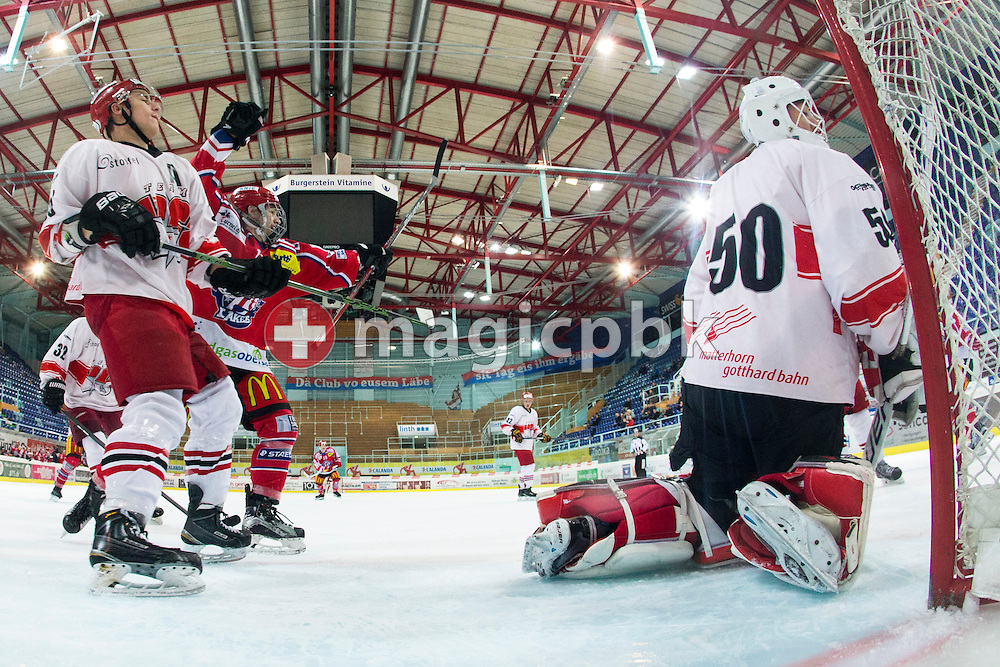Rapperswil-Jona Lakers forward Dimitri Beer (C) celebrates after his teammate scored against EHC Visp goaltender Hoel Ballestraz (R) during the third Elite B 1/2 final Playoff ice hockey game between Rapperswil-Jona Lakers and EHC Visp held at the SGKB Arena in Rapperswil, Switzerland, Friday, Mar. 3, 2017. (Photo by Patrick B. Kraemer / MAGICPBK)