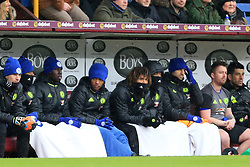 12th February 2017 - Premier League - Burnley v Chelsea - Chelsea substitutes wear towels across their legs to keep themselves warm - Photo: Simon Stacpoole / Offside.