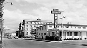 """9305-A4517. """"Looking east on Second St."""" (Mid Columbia Motel & Motel Dalles. 1948). The Dalles, Oregon."""