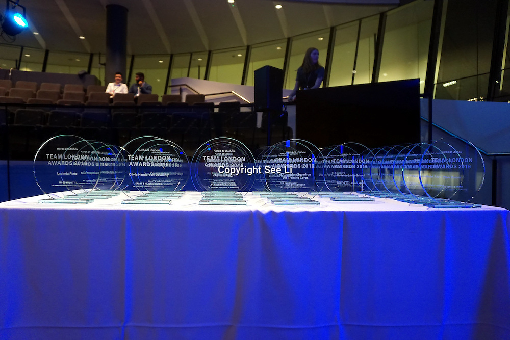 London, UK. 31 October 2016. Dame Barbara Windsor, Team London Ambassador and the Mayor of London, Sadiq Khan attends The Team London Awards ceremony held at City Hall, which celebrates London's most generous volunteers. © See Li