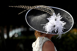 Detail of a female racegoer's hat during day two of Royal Ascot at Ascot Racecourse.