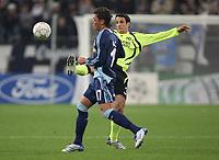 Photo: Maarten Straetemans/Sportsbeat Images.<br /> Shalke 04 v Chelsea. UEFA Champions League. 06/11/2007.<br /> Juliano Belletti of Chelsea with Mesut Özil of Schalke