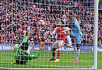 Football - 2016 / 2017 Emirates FA Cup - Semi-Final: Arsenal vs. Manchester City<br /> <br /> Raheem Sterling of Manchester City fires his shot into the goal past Petr Cech , only to have his goal disallowed  at Wembley.<br /> <br /> COLORSPORT/ANDREW COWIE