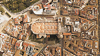 Aerial view of iconic national landmark catholic cathedral, Malaga, Spain
