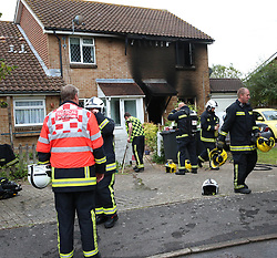 """Lee on the Solent,Hampshire,Wednesday 16th August 2017 <br /> A massive fire ripped through a house inLee on the Solent early on Wednesday morning,<br /> <br /> Firefighters from Gosport, Fareham and an aerial ladder were mobilised  to the property fire at Osprey Gardens.  Their was a slight delay due to the heavy traffic that was leaving following the arrival of the HMS Queen Elizabeth Aircraft Carrier.<br /> <br /> It is understood the fire started just before 8am.<br /> <br /> Severe damage was caused to the property after a toaster failed to switch off and set alight to the kitchen at the rear of the property. The three crews were committed into the property using a hose reel and two jets to put out  the blaze that  burn plasterboard from the roof and walls of the property. Watch Manger Rob Dellow said<br /> <br /> On arrival, crews confirmed there was a fire in the kitchen and used six breathing apparatus and two hose reels to extinguish the flames. <br /> """"A fire investigation is being conducted today to determine the cause of the fire but we believed that the fire started din a faulty toaster.<br /> <br /> <br /> """"There was a well-developed fire  that we could see when  we first entered the estate. Crews were committed to fight the fire [from inside]<br /> <br /> He said they were concerned about the ceiling falling in.<br /> <br /> """"It was quite a challenging fire for the firefighters to deal with,"""" he said. """"They worked really well together."""""""