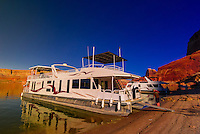 A 75 foot houseboat anchored in a secluded spot, Lake Powell, Glen Canyon National Recreation Area, Arizona/Utah border USA
