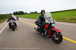 Canadian John Phillips riding his 1947 Harley-Davidson EL Knucklehead in the Cross Country Chase motorcycle endurance run from Sault Sainte Marie, MI to Key West, FL (for vintage bikes from 1930-1948). Stage 3 from Milwaukee, WI to Urbana, IL. USA. Sunday, September 8, 2019. Photography ©2019 Michael Lichter.