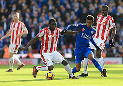 Mame Biram Diouf of Stoke City battles for the ball with Demarai Gray of Leicester City - Mandatory by-line: Paul Roberts/JMP - 04/11/2017 - FOOTBALL - Bet365 Stadium - Stoke-on-Trent, England - Stoke City v Leicester City - Premier League