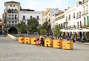 Town sign in Plaza Mayor, Carceres, Extremadura, Spain