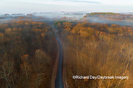 63895-16914 Road at sunrise and fog Stephen A. Forbes State Park-aerial-Marion Co. IL