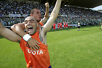 Firenze 29-5-05<br />Fiorentina Brescia Campionato Serie A 2004 2005<br />nella  foto Miccoli e Bojinov esultano dopo la fine della partita<br />Foto Snapshot / Graffiti