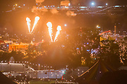 The Metamorphosis spider still spouts fire in Arcadia. Early friday morning from the hill - The 2017 Glastonbury Festival, Worthy Farm. Glastonbury, 23 June 2017