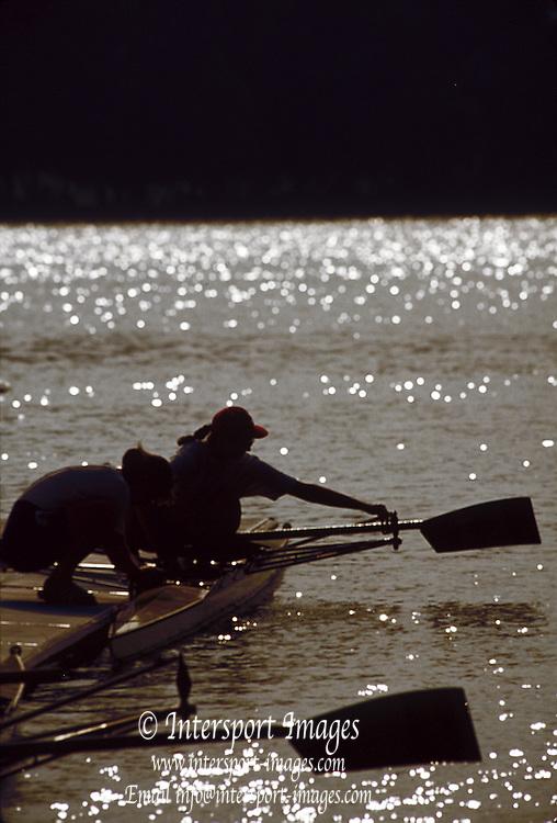.Barcelona Olympic Games 1992.Olympic Regatta - Lake Banyoles.Crews Boatiing - boat area..       {Mandatory Credit: © Peter Spurrier/Intersport Images]..........       {Mandatory Credit: © Peter Spurrier/Intersport Images].........