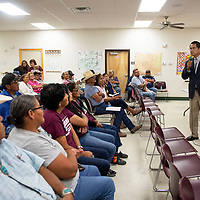 Jonathan Nez speaks to a crowd  at the Chichiltah chapter house during a meet and greet Sunday Sept. 30, 2018.