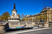 France, Paris (75), place de la Republique durant le confinement du Covid 19 // France, Paris, Republic Square during the lockdown of Covid 19