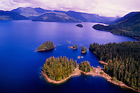 Aerial view, Clayoquot Sound, near Tofino, west coast of Vancouver Island, British Columbia, Canada